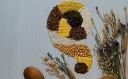 Όμορφη τοπ άποψη μιας διασποράς στα δημητριακά και τα σιτάρια σε ένα άσπρο υπόβαθρο Στοκ Εικόνες