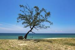 Όμορφη τροπική παραλία, μαλακό κύμα που χτυπά την αμμώδη παραλία κάτω από την ηλιόλουστη ημέρα brighr Στοκ εικόνα με δικαίωμα ελεύθερης χρήσης