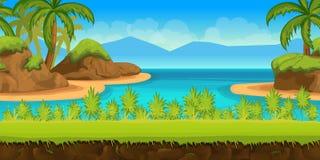 Όμορφη τροπική παραλία, απεικόνιση ενός θερινού ωκεάνιου υποβάθρου κινούμενων σχεδίων με τους φοίνικες, πέτρες Στοκ φωτογραφία με δικαίωμα ελεύθερης χρήσης