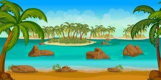 Όμορφη τροπική παραλία, απεικόνιση ενός θερινού ωκεάνιου υποβάθρου κινούμενων σχεδίων με τους φοίνικες, καρύδες, πέτρες Στοκ φωτογραφία με δικαίωμα ελεύθερης χρήσης