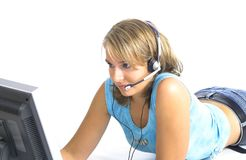 όμορφη υποστήριξη κοριτσιών πελατών Στοκ Εικόνες