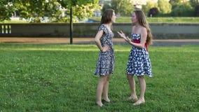 Όμορφη φίλη δύο που στέκεται σε μια ομιλία πάρκων απόθεμα βίντεο