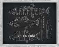 Όμορφη φρέσκια πλάγια όψη σολομών και κινηματογραφήσεων σε πρώτο πλάνο μαχαιριών που σύρεται με το γ Στοκ Εικόνες