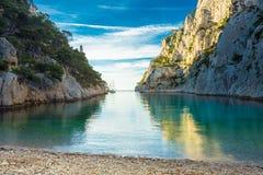 Όμορφη φύση Calanques στην κυανή ακτή της Γαλλίας Στοκ Φωτογραφίες