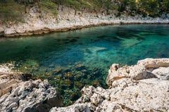 Όμορφη φύση Calanques στην κυανή ακτή της Γαλλίας Coas Στοκ Εικόνες