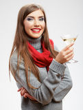 Όμορφη χαμογελώντας γυναίκα με το γυαλί κρασιού Στοκ Εικόνες