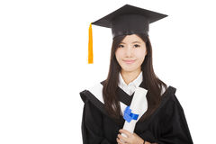 Χαμογελώντας διαβαθμισμένη γυναίκα με το βαθμό στοκ φωτογραφίες