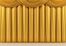Όμορφη χρυσή σκηνική κουρτίνα τρισδιάστατος δώστε ελεύθερη απεικόνιση δικαιώματος