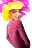 όμορφη χρωματισμένη γυναίκ&alp Στοκ εικόνα με δικαίωμα ελεύθερης χρήσης