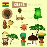 Όμορφη χώρα της Γκάνας της κληρονομιάς και του πολιτισμού της Αφρικής απεικόνιση αποθεμάτων