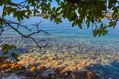 όμορφη όψη θάλασσας Τα βουνά κατεβαίνουν στη θάλασσα Μπλε ουρανός και τυρκουάζ νερό αδριατική θάλασσα Μαυροβούνιο Στοκ Φωτογραφίες