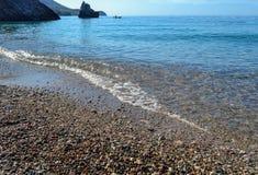 όμορφη όψη θάλασσας Τα βουνά κατεβαίνουν στη θάλασσα Μπλε ουρανός και τυρκουάζ νερό αδριατική θάλασσα Μαυροβούνιο Στοκ φωτογραφία με δικαίωμα ελεύθερης χρήσης