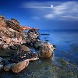 όμορφη όψη θάλασσας φεγγαριών Στοκ εικόνα με δικαίωμα ελεύθερης χρήσης