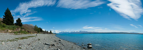 Όμορφη όψη πανοράματος της λίμνης και του βουνού, νότιο νησί, Νέα Ζηλανδία Στοκ φωτογραφίες με δικαίωμα ελεύθερης χρήσης