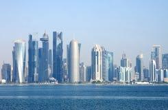 Όμορφη όψη Doha του ορίζοντα, Κατάρ Στοκ Εικόνες