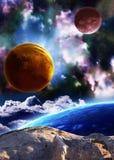 Όμορφη διαστημική σκηνή με τους πλανήτες και το νεφέλωμα Στοκ Εικόνες