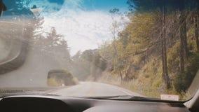 Όμορφη in-car άποψη, που οδηγεί κάτω από έναν ατμοσφαιρικό δρόμο ξύλων βουνών στο ηλιόλουστο δάσος θερινών πεύκων σε μεγάλο Sur Κ απόθεμα βίντεο
