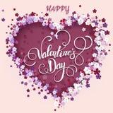 όμορφη floral καρδιά βαλεντίνος μορφής αγάπης καρδιών καρτών Στοκ Εικόνα