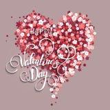 όμορφη floral καρδιά βαλεντίνος μορφής αγάπης καρδιών καρτών Διανυσματική απεικόνιση