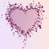 όμορφη floral καρδιά βαλεντίνος μορφής αγάπης καρδιών καρτών Ελεύθερη απεικόνιση δικαιώματος