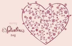 Όμορφη floral περίκομψη καρδιά βαλεντίνος μορφής αγάπης καρδιών καρτών Στοκ φωτογραφία με δικαίωμα ελεύθερης χρήσης