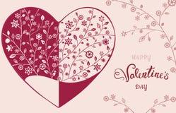 Όμορφη floral περίκομψη καρδιά βαλεντίνος μορφής αγάπης καρδιών καρτών Απεικόνιση αποθεμάτων