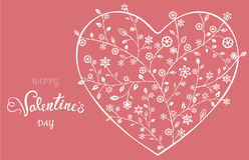 Όμορφη floral περίκομψη καρδιά βαλεντίνος μορφής αγάπης καρδιών καρτών Στοκ Φωτογραφία