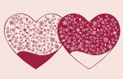 Όμορφη floral περίκομψη καρδιά βαλεντίνος μορφής αγάπης καρδιών καρτών Στοκ εικόνα με δικαίωμα ελεύθερης χρήσης
