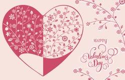 Όμορφη floral περίκομψη καρδιά βαλεντίνος μορφής αγάπης καρδιών καρτών Διανυσματική απεικόνιση