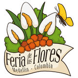 Όμορφη Floral ρύθμιση πίσω από την κορδέλλα για το κολομβιανό φεστιβάλ λουλουδιών, διανυσματική απεικόνιση Στοκ Φωτογραφίες