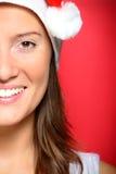 όμορφη s γυναίκα santa καπέλων Στοκ Εικόνες