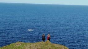 Όμορφοι απότομοι βράχοι Kilkee στη δυτική ακτή της Ιρλανδίας απόθεμα βίντεο