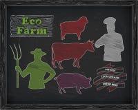 Όμορφοι βόειο κρέας, χοιρινό κρέας, αρνί και αγρότης, μάγειρας Στοκ Εικόνα