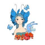 Όμορφοι νέο κορίτσι, πεταλούδες και λαγοί Στοκ εικόνα με δικαίωμα ελεύθερης χρήσης