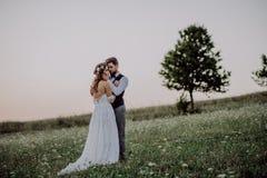 Όμορφοι νύφη και νεόνυμφος στο ηλιοβασίλεμα στην πράσινη φύση στοκ εικόνα με δικαίωμα ελεύθερης χρήσης