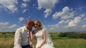 Όμορφοι νύφη και νεόνυμφος newlyweds στον πράσινο τομέα άνοιξη ενάντια στο μπλε ουρανό η όμορφη διασκέδαση ζευγών φθινοπώρου έχει φιλμ μικρού μήκους