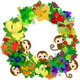 Όμορφοι πίθηκοι - στεφάνι των φρούτων Στοκ εικόνα με δικαίωμα ελεύθερης χρήσης