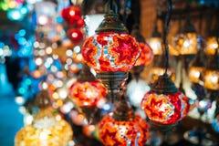 Όμορφοι τουρκικοί λαμπτήρες μωσαϊκών Στοκ Εικόνες