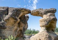 Όμορφοι φυσικά χαρασμένοι σχηματισμοί βράχου ψαμμίτη Στοκ Φωτογραφίες