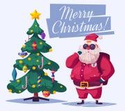 Όμορφοι χριστουγεννιάτικο δέντρο και Άγιος Βασίλης η αλλοδαπή γάτα κινούμενων σχεδίων δραπετεύει το διάνυσμα στεγών απεικόνισης διανυσματική απεικόνιση