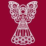 Όμορφος, άγγελος δαντελλών για την κοπή λέιζερ διανυσματική απεικόνιση