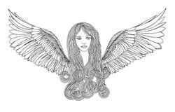Όμορφος άγγελος με την κυματίζοντας τρίχα Στοκ Φωτογραφίες