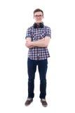 Όμορφος έφηβος με τα ακουστικά που απομονώνεται στο λευκό Στοκ φωτογραφία με δικαίωμα ελεύθερης χρήσης