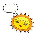 όμορφος ήλιος κινούμενων σχεδίων με τη λεκτική φυσαλίδα Στοκ εικόνες με δικαίωμα ελεύθερης χρήσης