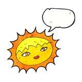 όμορφος ήλιος κινούμενων σχεδίων με τη λεκτική φυσαλίδα Στοκ εικόνα με δικαίωμα ελεύθερης χρήσης