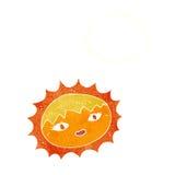 όμορφος ήλιος κινούμενων σχεδίων με τη σκεπτόμενη φυσαλίδα Στοκ εικόνες με δικαίωμα ελεύθερης χρήσης
