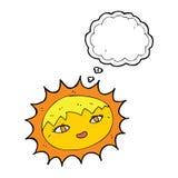όμορφος ήλιος κινούμενων σχεδίων με τη σκεπτόμενη φυσαλίδα Στοκ Φωτογραφία