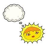 όμορφος ήλιος κινούμενων σχεδίων με τη σκεπτόμενη φυσαλίδα Στοκ εικόνα με δικαίωμα ελεύθερης χρήσης