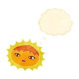 όμορφος ήλιος κινούμενων σχεδίων με τη σκεπτόμενη φυσαλίδα Στοκ Φωτογραφίες