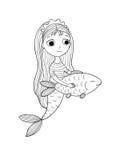 Όμορφος λίγη γοργόνα και ψάρια σειρήνα Στοκ Εικόνα